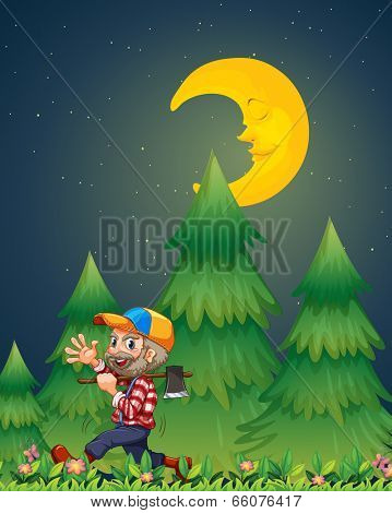 Illustration of a lumberjack walking happily while carrying an axe