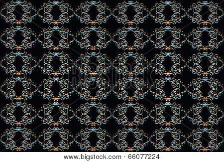 black background with multi-colored pattern.