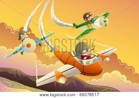 Kids In An Airplane Race