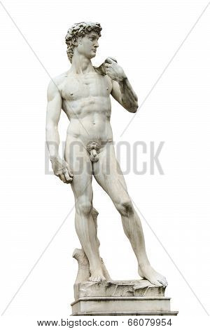 Statue Of Michelangelo's David Front Of The Museum Palazzo Vecchio  . Florence, Italy