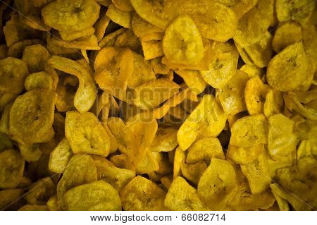 Dried Sliced Banana Fruit Snack, Spicy Flavor, Background