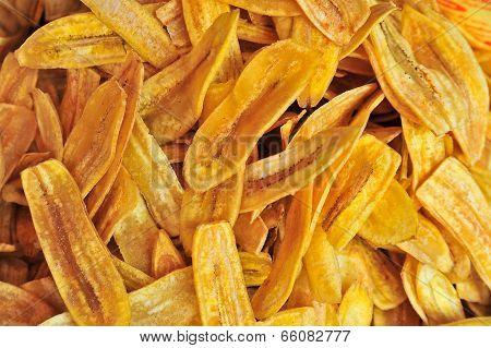 Thai Fried Dry Sweet Banana Snack Food, Background