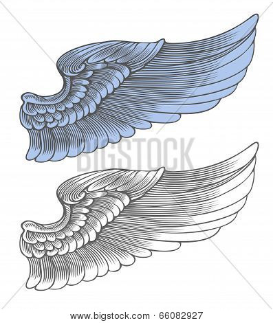 Wing in engraving style