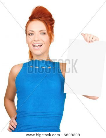Happy Woman With Blank Board
