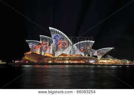 Sydney, Australia - June 2, 2014; Sydney Opera House Illuminated In Colourful Images During Vivid Sy