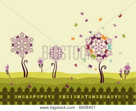 Birthday Card With Flowers And Butterflies