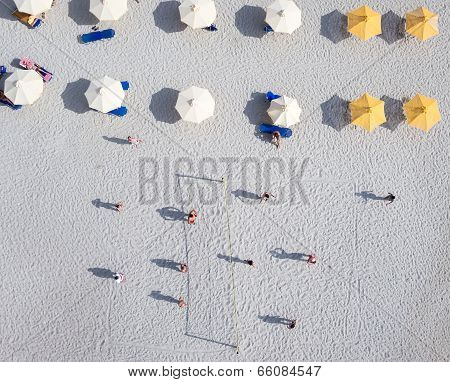 People Playing Beach Volley At The Beach Of Kallithea In Greece