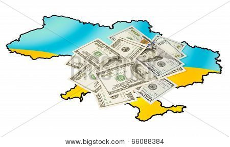 American Dollars On Ukrainian Map