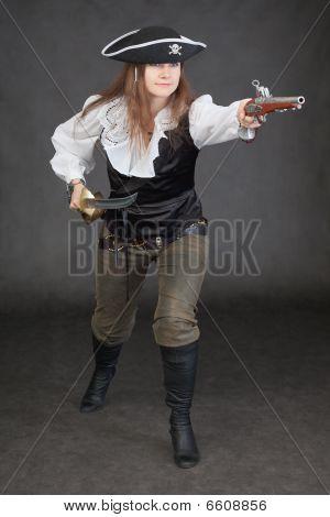 Woman In A Costume Of Sea Pirate Attack