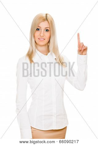 Eureka. Woman with an idea raising her finger