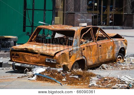 Burned And Broken Car