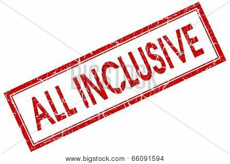All Inclusive Red Square Grungy Stamp Isolated On White Background