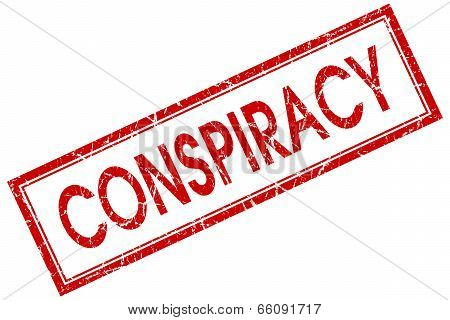 Conspiracy Red Square Grungy Stamp Isolated On White Background