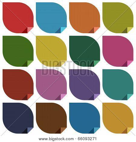 16 retro colored blank stickers