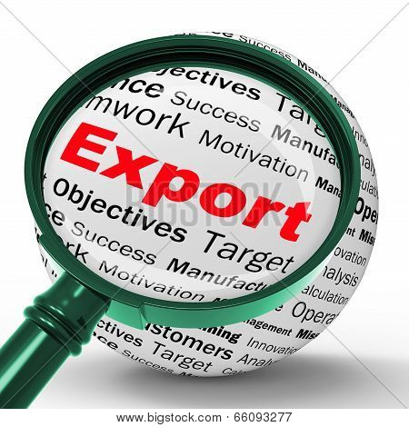 Export Magnifier Definition Shows Abroad Selling And Exportation