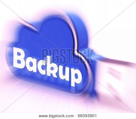 Backup Cloud Usb Drive Means Data Storage Or Safe Copy
