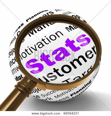 Stats Magnifier Definition Shows Business Reports And Figures