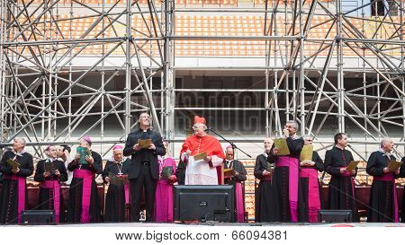 Archbishop Scola At San Siro Stadium In Milan, Italy