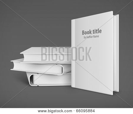 Book template with white cover and pile of books. Eps10 vector illustration on gray background