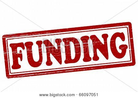Stamp with word funding inside vector illustration