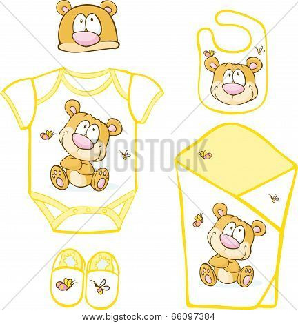 Cute Baby Layette With Bear And Butterfly - Vector Illustration