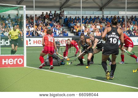 THE HAGUE, NETHERLANDS - JUNE 2: New Zealander Grant is trying to score a� goal on the Korean side of the field during the Hockey World Cup 2014. KOR beats NZL  1-0