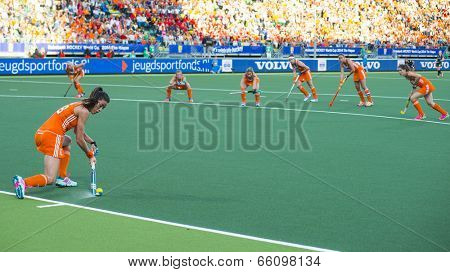 THE HAGUE, NETHERLANDS - JUNE 2: Dutch van As is tanking a corner during the match The Netherlands - Belgium during the Hockey World Cup 2014. The Netherlands and Belgium (woman) NED beats BEL 4-0