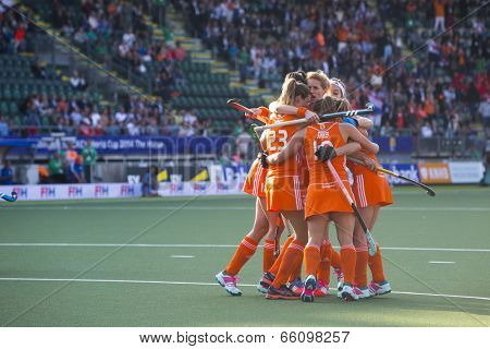 THE HAGUE, NETHERLANDS - JUNE 2: Dutch players van As, Lammers, Jonker and Hoog celebrating a goal during the Hockey World Cup 2014 in the match between The Netherlands and Belgium. NED beats BEL 4-0