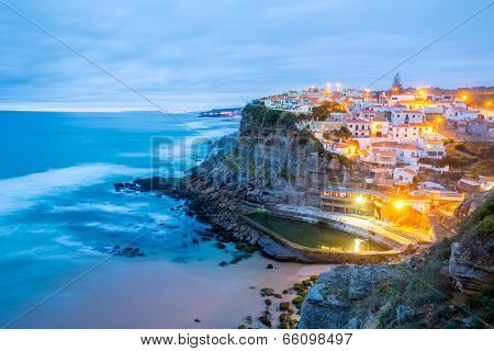 Azenhas do Mar village at dusk, Sintra Portugal