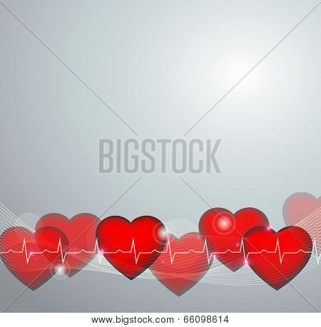 Cardiology Background, Abstract Heart Illustration And Normal Cardiogram