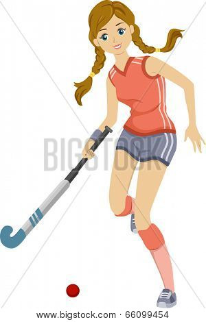Illustration of a Teenage Girl Playing Field Hockey