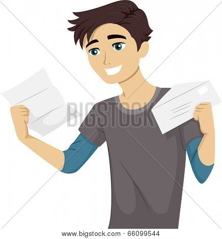 Illustration of a Male Teen Happily Reading His College Acceptance Letter