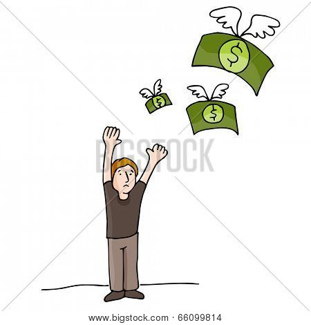 An image of money flying away.