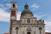 stock photo of vicenza  - Sanctuary of Our Lady of Monte Berico facade of the basilica dome and bell tower Vicenza (UNESCO) Veneto Italy
