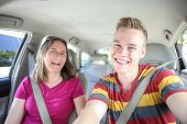 foto of seatbelt  - Mother and son in car - JPG