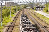 picture of railroad yard  - The railroad in the bright sunny day under scorching beams - JPG