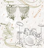 picture of timpani  - hand drawn seamless pattern of  musical instruments - JPG