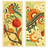 foto of batik  - Abstract vector hand drawn ethnic pattern card set - JPG