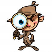 stock photo of private investigator  - Cartoon smart detective in investigation with brown coat looking through big magnifying glass smiling and closing one eye - JPG