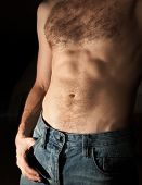 stock photo of belly-button  - Flat sporty male belly - JPG