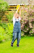 image of frisbee  - Little boy is playing Frisbee in garden - JPG