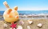 foto of sand dollar  - Piggy bank on sand with summer sea background - JPG