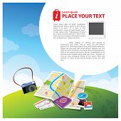 stock photo of passport template  - Travel Illustration with speech bubble for text layout - JPG