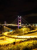 stock photo of hong kong bridge  - Hong Kong Tsing Ma bridge - JPG