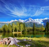 foto of snow capped mountains  - City park in the Alpine resort of Chamonix - JPG