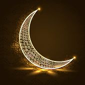 picture of crescent  - Floral design decorated crescent golden moon on shiny brown background for holy month of Muslim community Ramadan Kareem - JPG