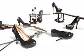 stock photo of peep-toes  - Female shoe and musical instruments scattered over white background - JPG