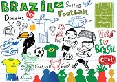 stock photo of ball cap  - Big set of Brazilian doodles  - JPG