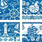 foto of seahorses  - Patterns with Nautical and sea symbols - JPG
