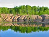 foto of paysage  - The green lake and a birchwood through the looking glass - JPG